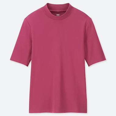WOMEN 1*1 RIBBED COTTON HIGH-NECK HALF-SLEEVE T-SHIRT, PINK, medium