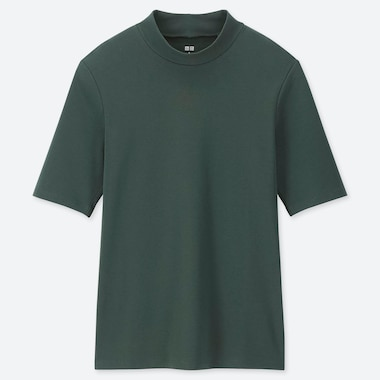 WOMEN 1*1 RIBBED COTTON HIGH-NECK HALF-SLEEVE T-SHIRT, DARK GREEN, medium