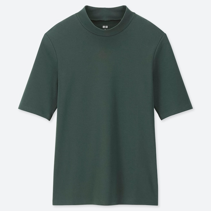WOMEN 1*1 RIBBED COTTON HIGH-NECK HALF-SLEEVE T-SHIRT, DARK GREEN, large