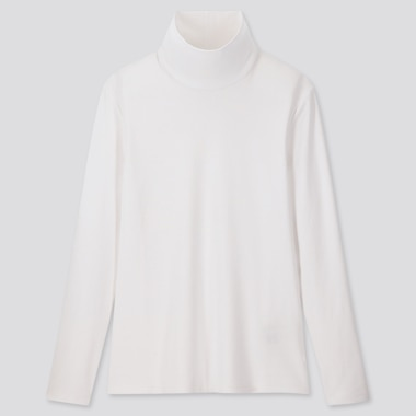 WOMEN 1*1 RIBBED COTTON TURTLENECK LONG-SLEEVE T-SHIRT, WHITE, medium