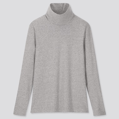 WOMEN RIBBED COTTON TURTLENECK LONG SLEEVED T-SHIRT