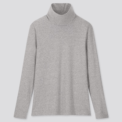 Women Ribbed Cotton Turtleneck Long Sleeved T Shirt  (10) by Uniqlo