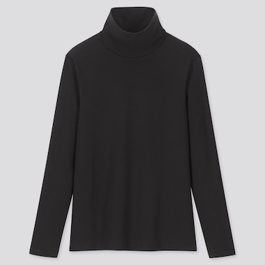 WOMEN 1*1 RIBBED COTTON TURTLENECK LONG-SLEEVE T-SHIRT, BLACK, medium