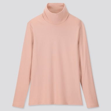 Women 1*1 Ribbed Cotton Turtleneck Long-Sleeve T-Shirt, Pink, Medium