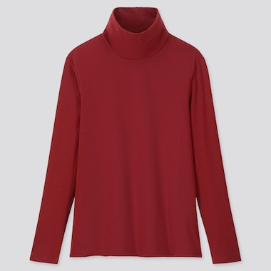 Women 1*1 Ribbed Cotton Turtleneck Long-Sleeve T-Shirt, Red, Medium