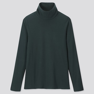 WOMEN 1*1 RIBBED COTTON TURTLENECK LONG-SLEEVE T-SHIRT, DARK GREEN, medium
