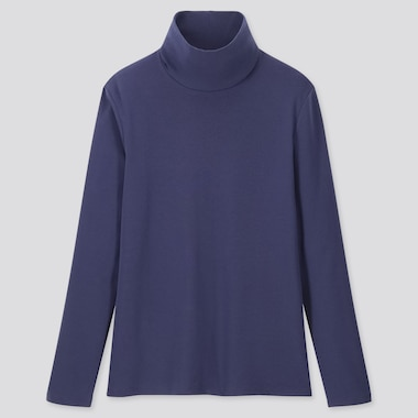 WOMEN 1*1 RIBBED COTTON TURTLENECK LONG-SLEEVE T-SHIRT, BLUE, medium