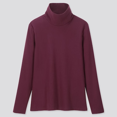WOMEN 1*1 RIBBED COTTON TURTLENECK LONG-SLEEVE T-SHIRT, PURPLE, medium