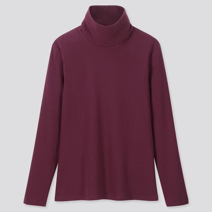 Women 1*1 Ribbed Cotton Turtleneck Long-sleeve T-shirt, Purple, Large