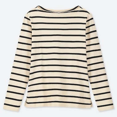 WOMEN STRIPED BOAT NECK LONG SLEEVED T-SHIRT