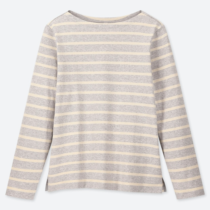 WOMEN STRIPED BOAT NECK LONG-SLEEVE T-SHIRT, GRAY, large