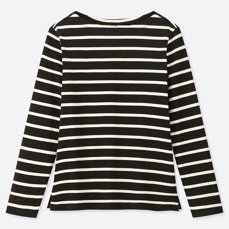 WOMEN STRIPED BOAT NECK LONG-SLEEVE T-SHIRT, BLACK, large
