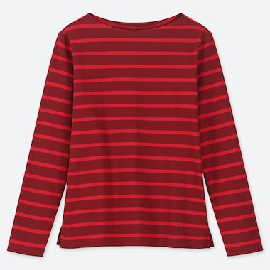 WOMEN STRIPED BOAT NECK LONG-SLEEVE T-SHIRT, RED, medium