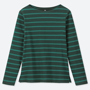 WOMEN STRIPED BOAT NECK LONG-SLEEVE T-SHIRT, DARK GREEN, medium