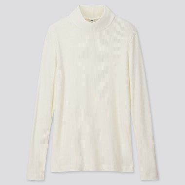 WOMEN RIBBED HIGH-NECK LONG-SLEEVE T-SHIRT, OFF WHITE, medium