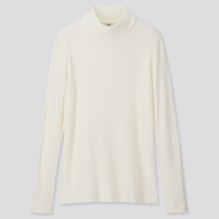WOMEN RIBBED HIGH-NECK LONG-SLEEVE T-SHIRT, OFF WHITE, large