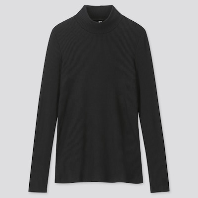 Women Ribbed High Neck Long Sleeved T Shirt  (15) by Uniqlo