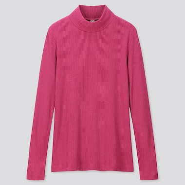 WOMEN RIBBED HIGH-NECK LONG-SLEEVE T-SHIRT, PINK, medium