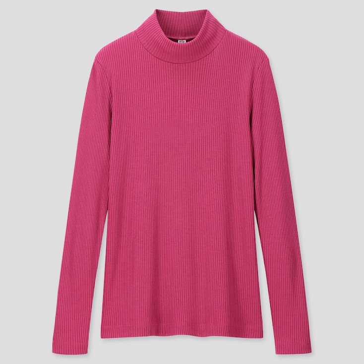 WOMEN RIBBED HIGH-NECK LONG-SLEEVE T-SHIRT, PINK, large