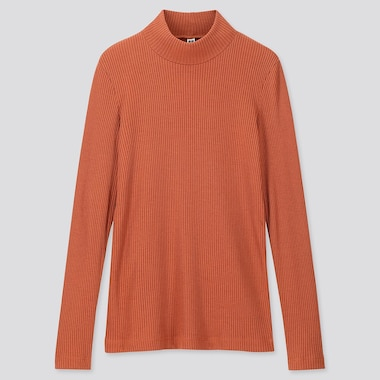 WOMEN RIBBED HIGH-NECK LONG-SLEEVE T-SHIRT, ORANGE, medium
