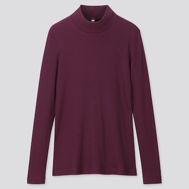 WOMEN RIBBED HIGH-NECK LONG-SLEEVE T-SHIRT, PURPLE, medium