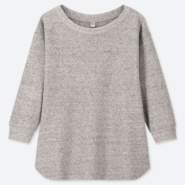 WOMEN WAFFLE CREW NECK 3/4 SLEEVE T-SHIRT, GRAY, medium