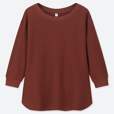 WOMEN WAFFLE CREW NECK 3/4 SLEEVE T-SHIRT, BROWN, medium