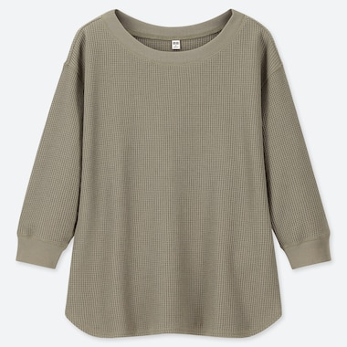 WOMEN WAFFLE CREW NECK 3/4 SLEEVE T-SHIRT, OLIVE, medium