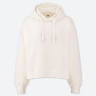 WOMEN LONG-SLEEVE CROPPED HOODED SWEATSHIRT, OFF WHITE, medium