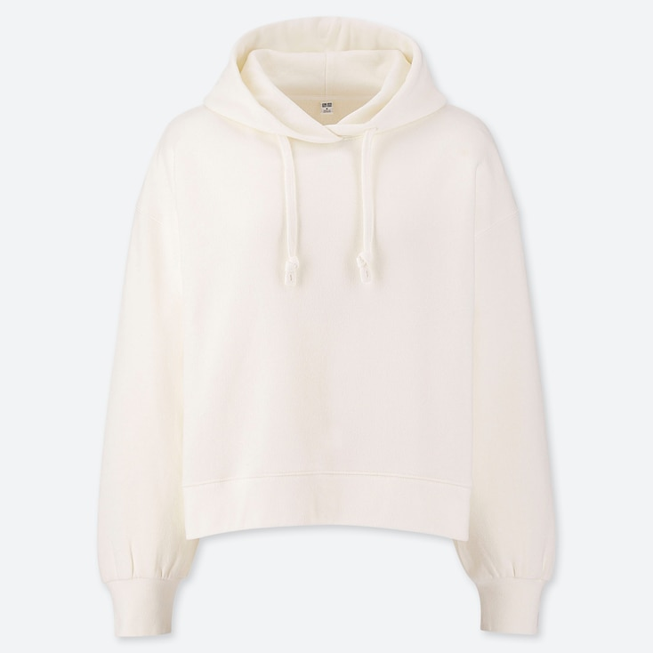 WOMEN LONG-SLEEVE CROPPED HOODED SWEATSHIRT, OFF WHITE, large