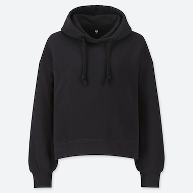 WOMEN LONG-SLEEVE CROPPED HOODED SWEATSHIRT, BLACK, medium