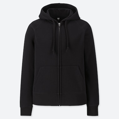 WOMEN SWEAT LONG-SLEEVE FULL-ZIP HOODIE, BLACK, medium
