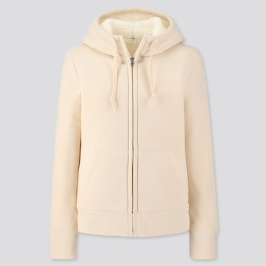 Women Pile-Lined Sweat Long-Sleeve Full-Zip Hoodie, Off White, Medium