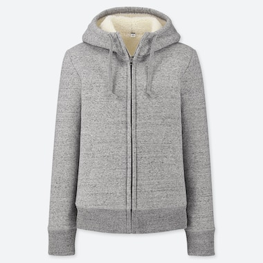 WOMEN PILE-LINED SWEAT LONG-SLEEVE FULL-ZIP HOODIE, GRAY, medium