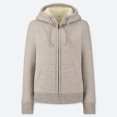 Women Pile-Lined Sweat Long-Sleeve Full-Zip Hoodie, Beige, Medium