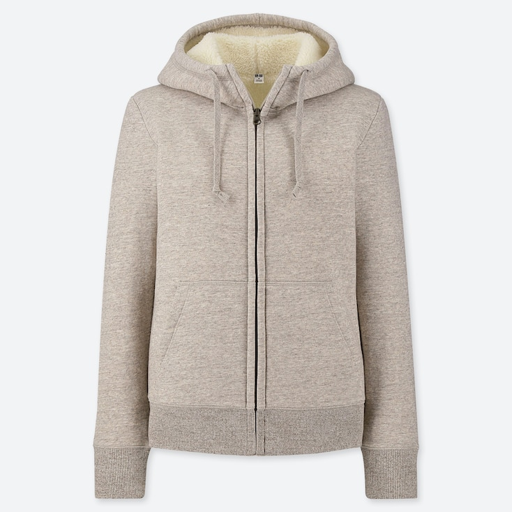 WOMEN PILE-LINED SWEAT LONG-SLEEVE FULL-ZIP HOODIE, BEIGE, large