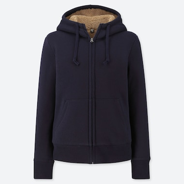 WOMEN PILE-LINED SWEAT LONG-SLEEVE FULL-ZIP HOODIE, NAVY, medium
