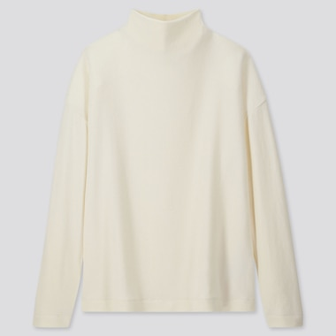 WOMEN SOFT KNITTED FLEECE HIGH-NECK LONG-SLEEVE T-SHIRT, OFF WHITE, medium