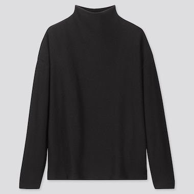 WOMEN SOFT KNITTED FLEECE HIGH-NECK LONG-SLEEVE T-SHIRT, BLACK, medium