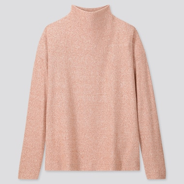 Women Soft Knitted Fleece High-Neck Long-Sleeve T-Shirt, Pink, Medium