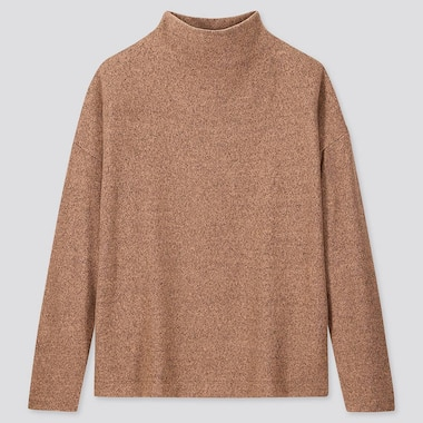 WOMEN SOFT KNITTED FLEECE HIGH-NECK LONG-SLEEVE T-SHIRT, BROWN, medium