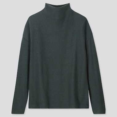 WOMEN SOFT KNITTED FLEECE HIGH-NECK LONG-SLEEVE T-SHIRT, DARK GREEN, medium