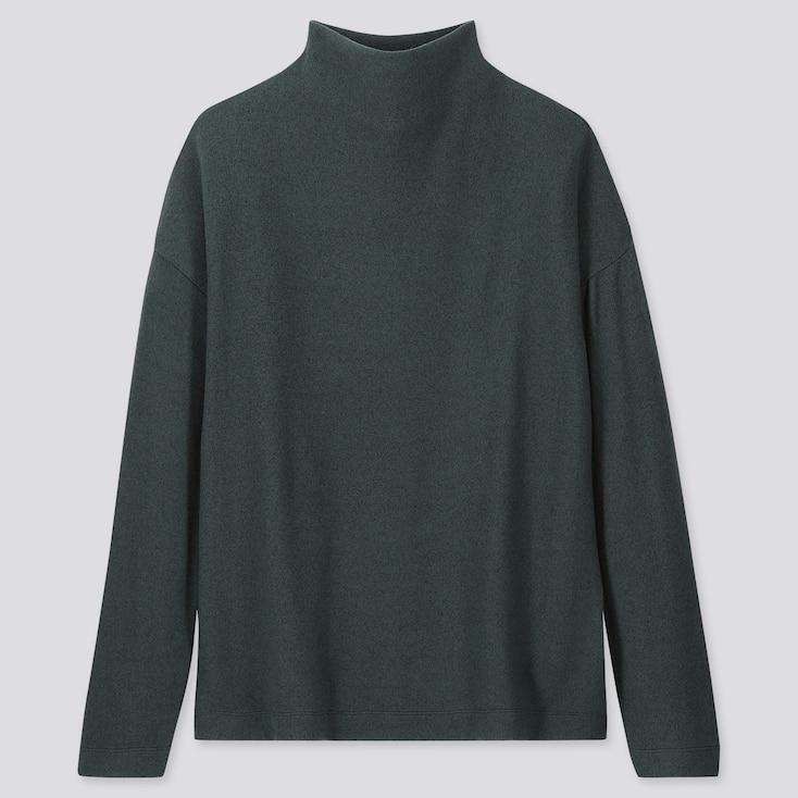 WOMEN SOFT KNITTED FLEECE HIGH-NECK LONG-SLEEVE T-SHIRT, DARK GREEN, large