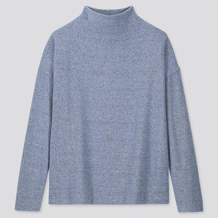 Women Soft Knitted Fleece High-neck Long-sleeve T-shirt, Blue, Large