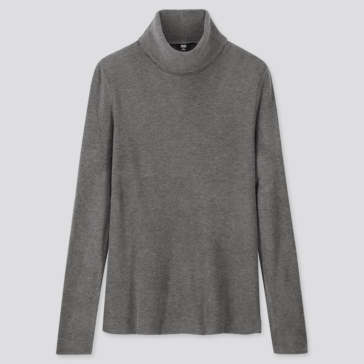 WOMEN HEATTECH FLEECE TURTLENECK LONG-SLEEVE T-SHIRT, DARK GRAY, large