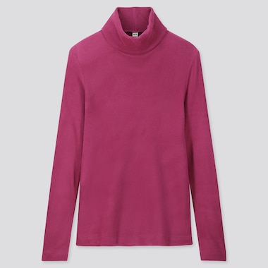 Women Heattech Fleece Turtleneck Long-Sleeve T-Shirt, Pink, Medium
