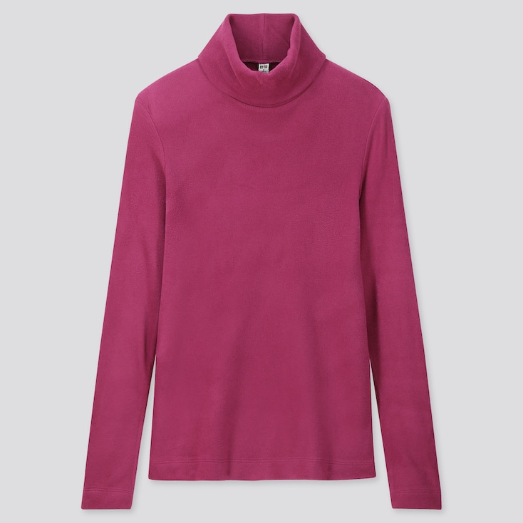 Women Heattech Fleece Turtleneck Long-Sleeve T-Shirt, Pink, Large
