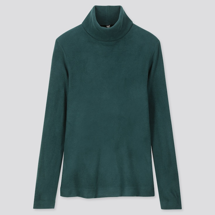 WOMEN HEATTECH FLEECE TURTLENECK LONG-SLEEVE T-SHIRT, DARK GREEN, large