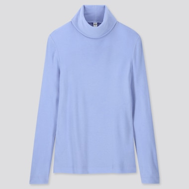 WOMEN HEATTECH FLEECE TURTLENECK LONG-SLEEVE T-SHIRT, BLUE, medium
