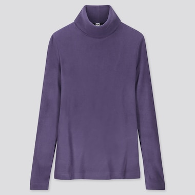 WOMEN HEATTECH FLEECE TURTLENECK LONG-SLEEVE T-SHIRT, PURPLE, medium